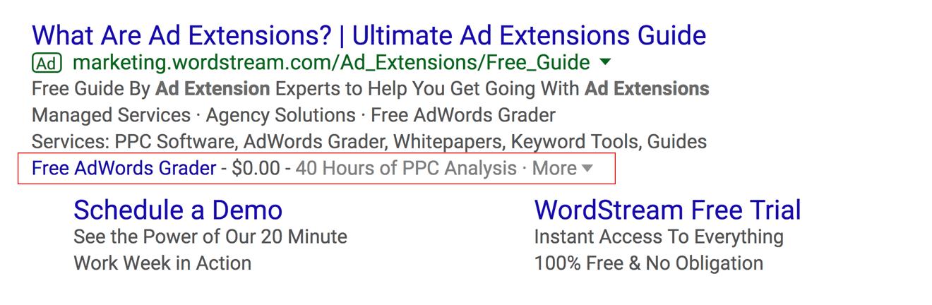 AdWords price extension