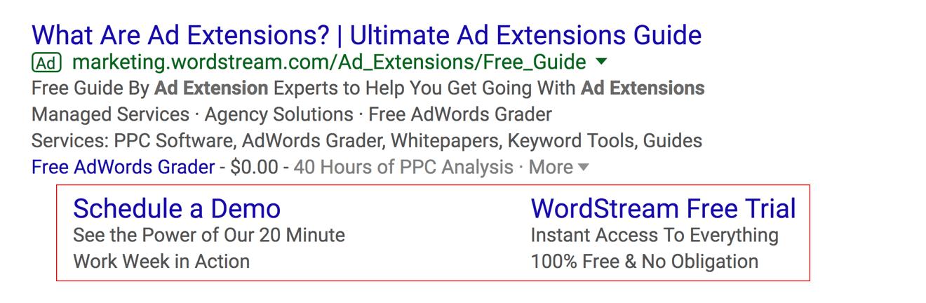 AdWords sitelink extensions