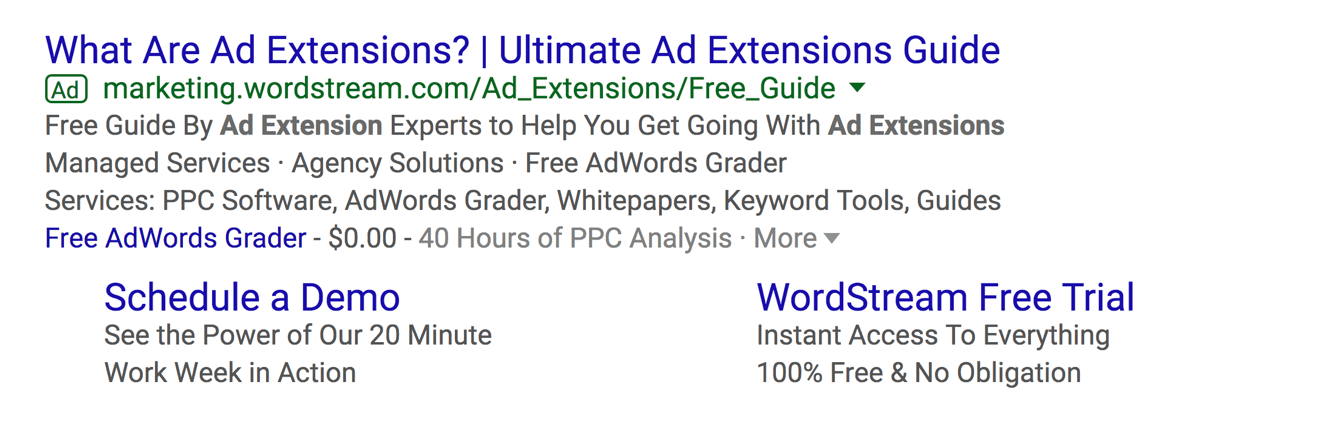 AdWrods ad extensions