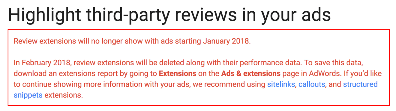 AdWords review extension eliminated