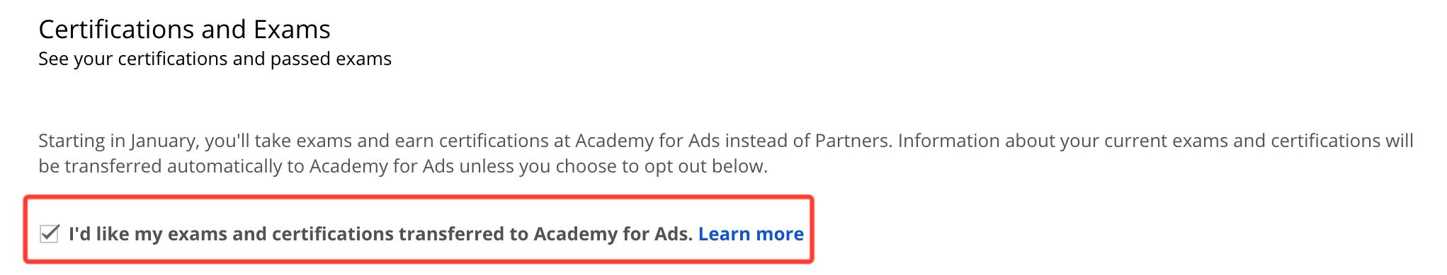 Google Partners Certification notice