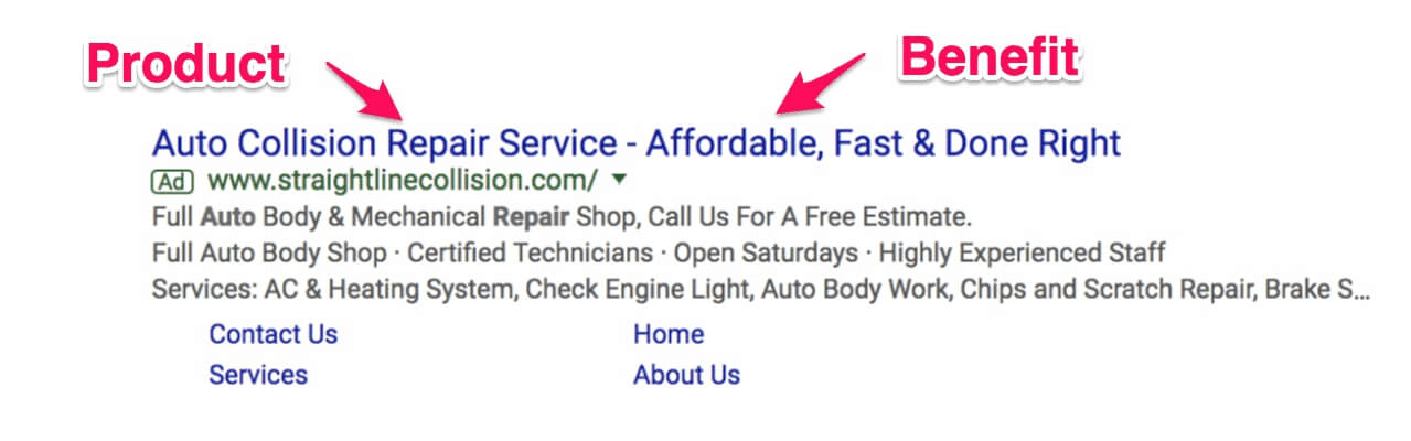 AdWords text ad Auto Repair