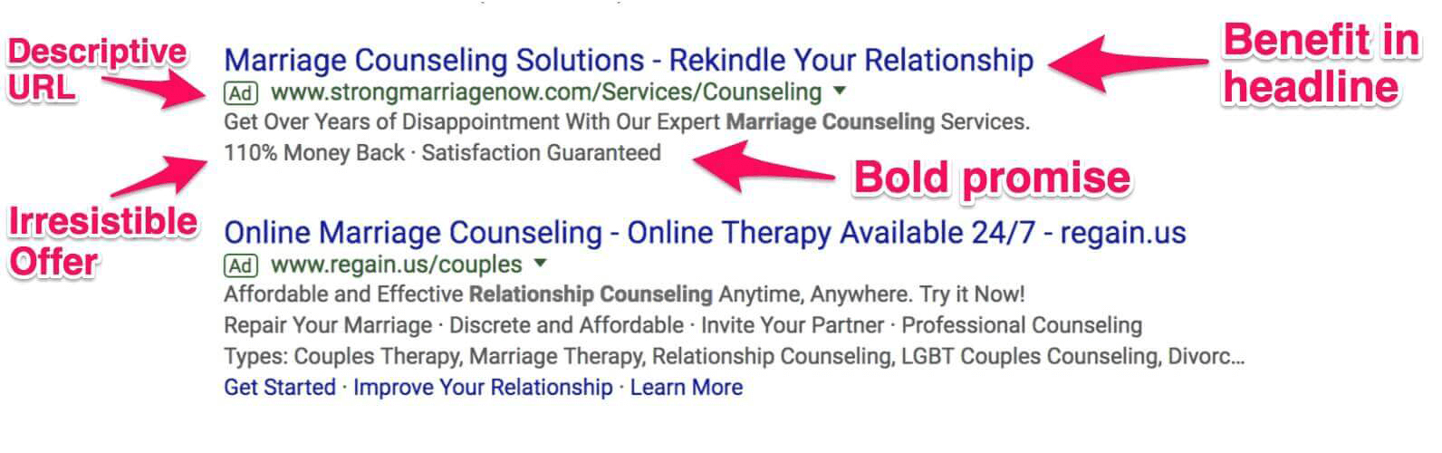 AdWords Text Ad Marriage Counseling
