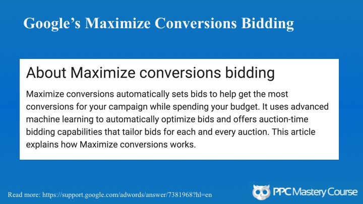 Maximize conversion bidding