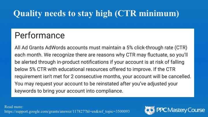 Google Ad Grants CTR standards