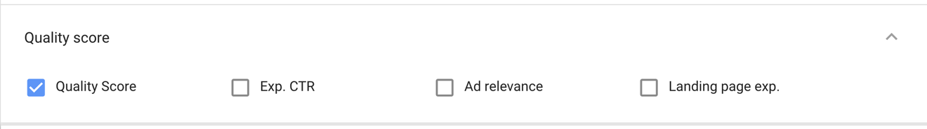 quality score reporting in the new AdWords interface