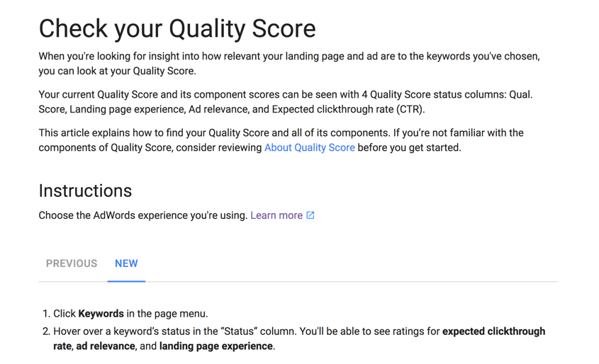 quality score in the new AdWords interface