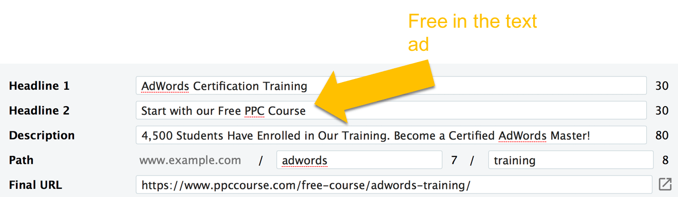 AdWords Copywriting - Free offer