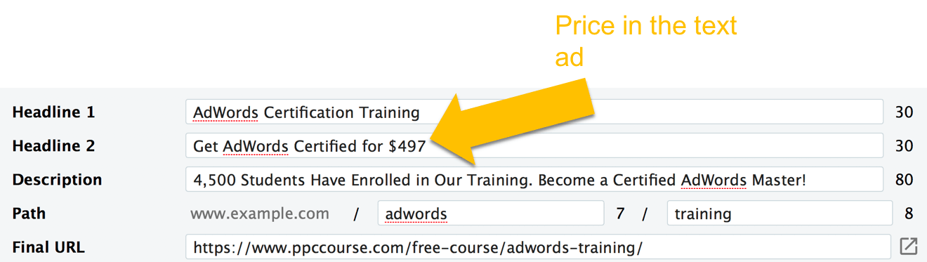 AdWords copywriting - price in ad