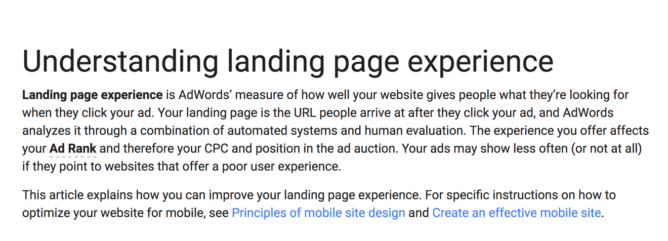 Landing page guidance from Google