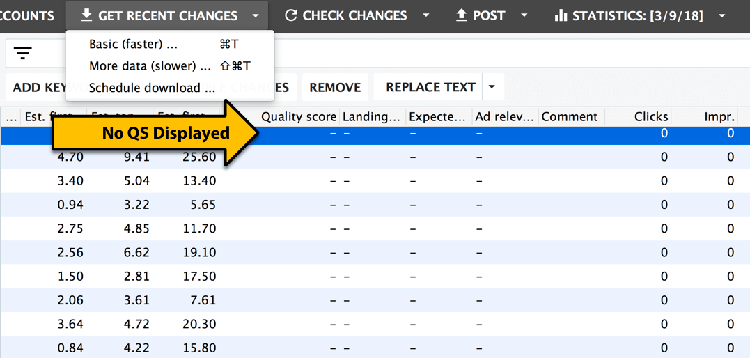 quality score not showing in AdWords Editor