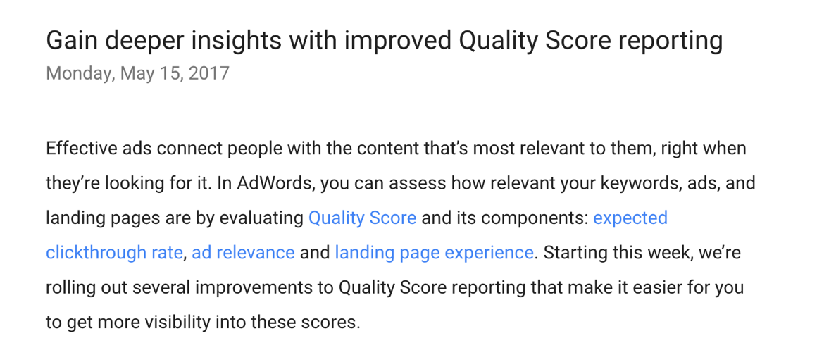 improved quality score reporting