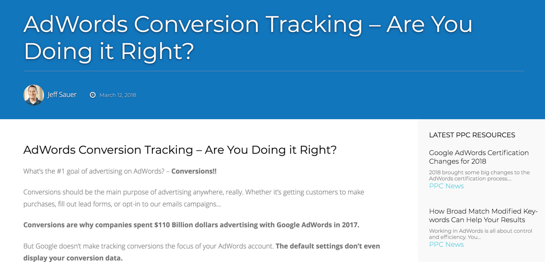 conversion tracking in AdWrods
